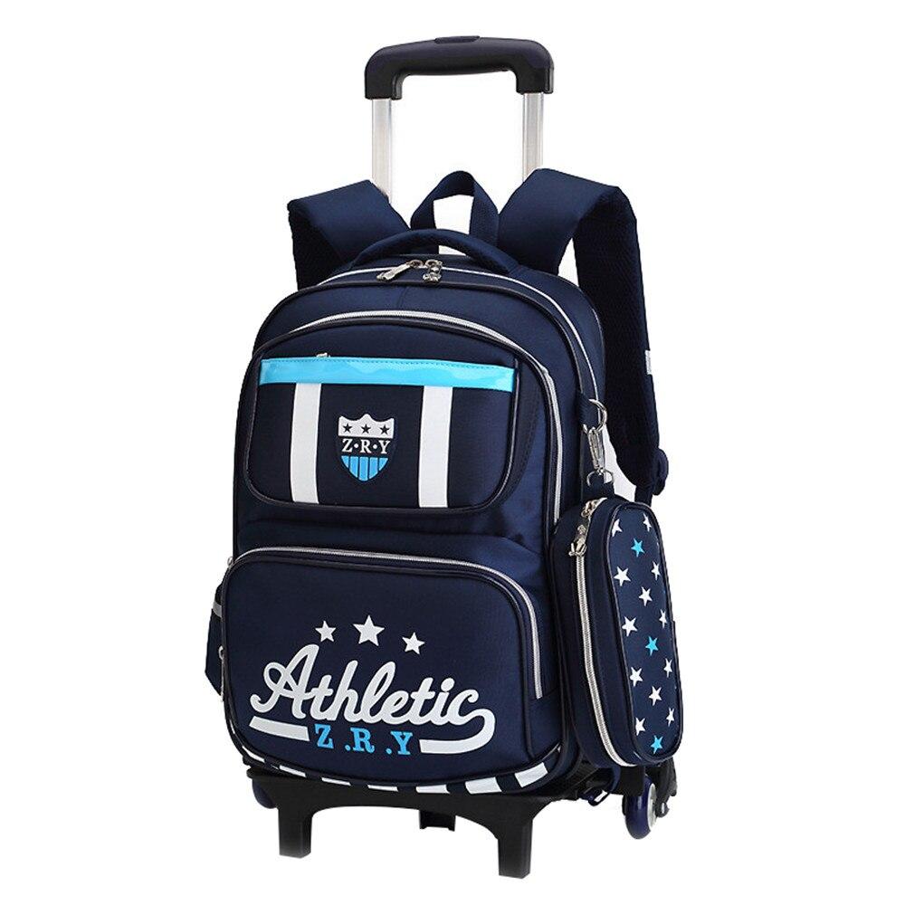 Sacs à roulettes imperméables école garçons filles amovible chariot sac à dos école enfants grande capacité livre sac voyage bagages sac
