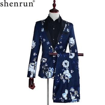 Navy Blue Floral suits for men Groom Stage Costume suit Latest Coat Pant Designs Print Fashion Casual two piece set Suits