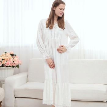 S-L Loose Cotton Long sleeve Nightgown Women's Robe Gown Nightwear Lady Sleepwear Nightshirt Vintage Classic Arab Elegant Style
