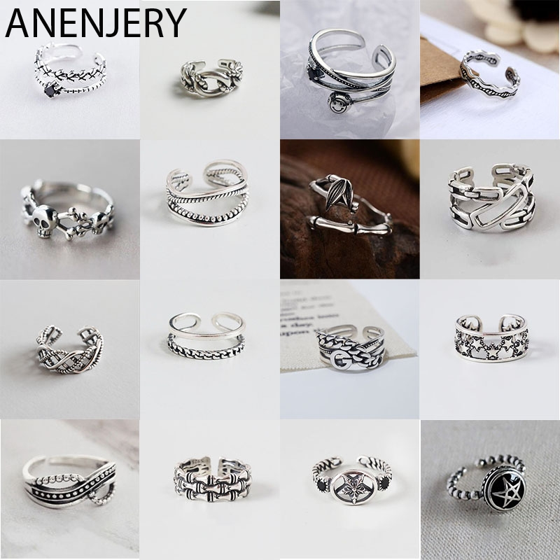 ANENJERY Vintage 925 Sterling Silver Rings Handmade Size 18mm Adjustable Rings For Men Women Thai Silver Jewelry S-R430(China)