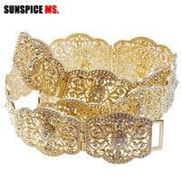 SUNSPICE MS Rhinestone Wedding Sash Belt Adjust Length Gold Color Metal Crystal Bridal Waist Chain Belt For Women Hollow Flower