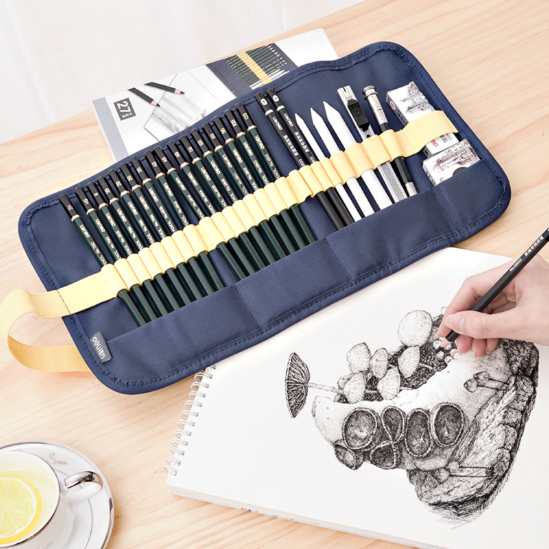 Deli Sketch Pencil Set Professional 27pcs Sketching Drawing Kit Wood Pencil Pencil Bags For Painter School Students Art SuppliesDeli Sketch Pencil Set Professional 27pcs Sketching Drawing Kit Wood Pencil Pencil Bags For Painter School Students Art Supplies
