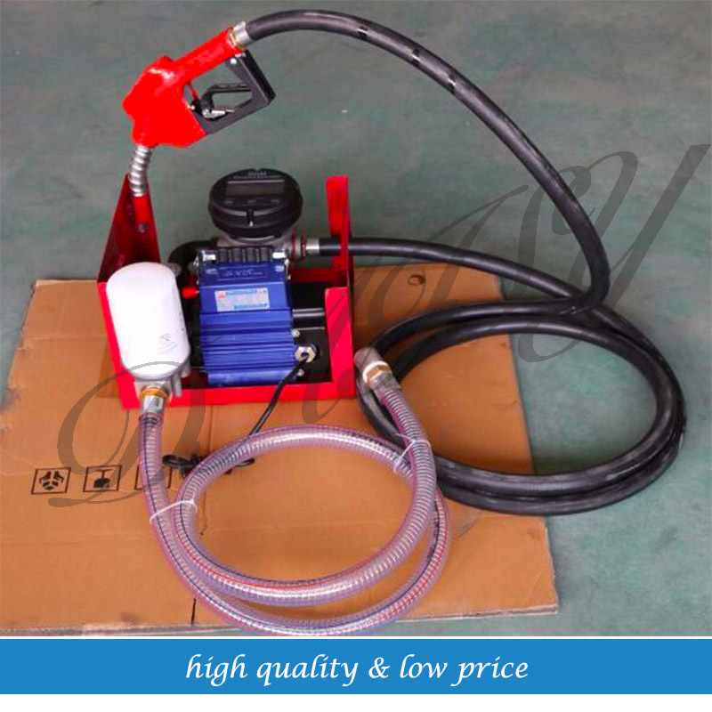 80l/min Electric Diesel Oil Pump Meter Self Priming Transfer Fuel Cast Iron 12v dual purpose inlet electric self priming diesel oil refuel oil pump with standard 2m power line and 8m oil tube