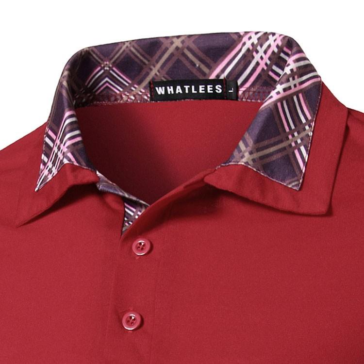 Men Polo Shirt Fashion Plaid Collar Business Mens Polo 2016 Casual Short Sleeved Sports Golf Tennis Cotton Polo Red Camisa M-2XL (8)