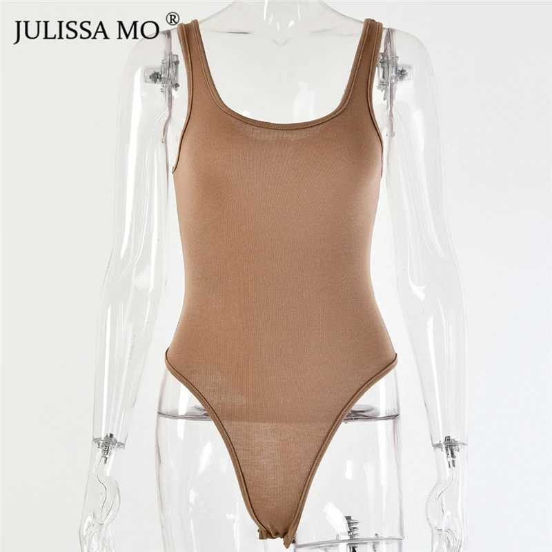 Женский трикотажный боди JULISSA MO, однотонный хлопчатобумажный комбидресс с высокой талией, летний облегающий комбинезон без рукавов, 2019