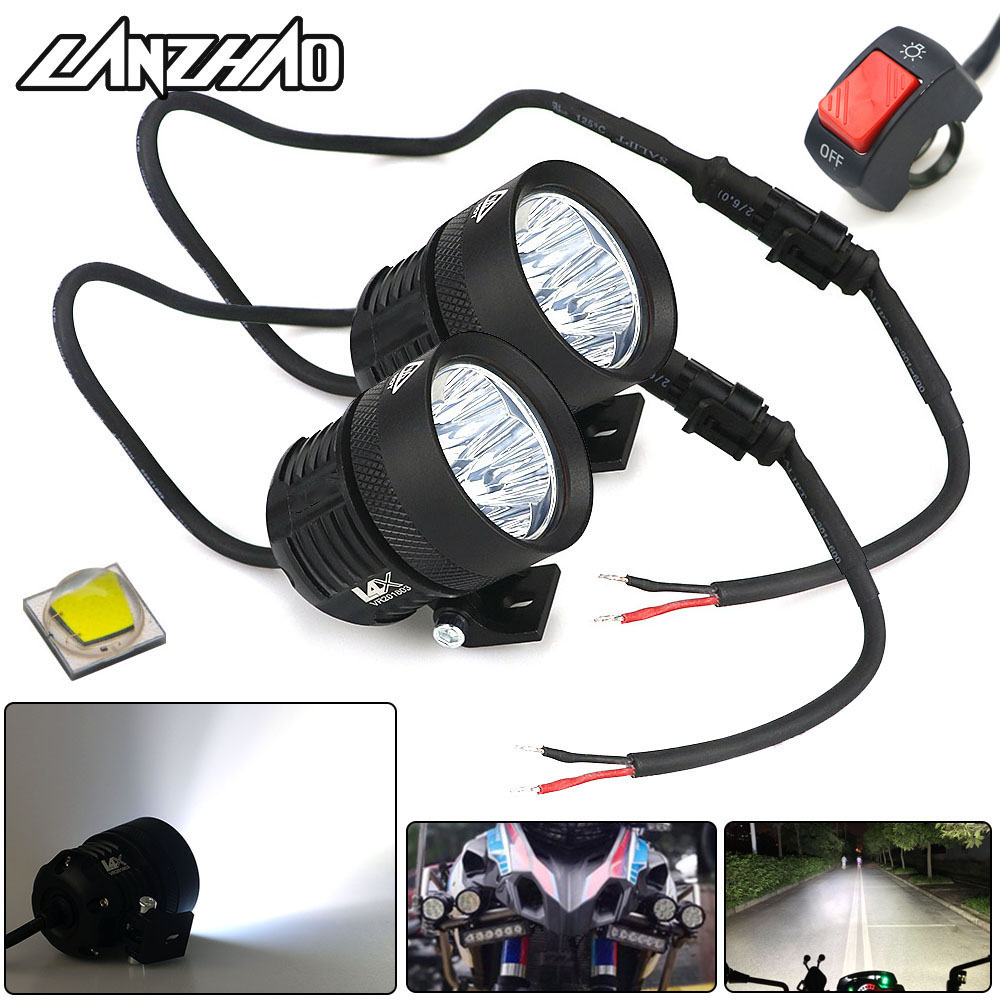 40W Motorcycle LED Outdoor External High Beam Spot Lights 6500K Head Lamp Universal For Honda Yamaha Cruiser Scooter ATV Marine