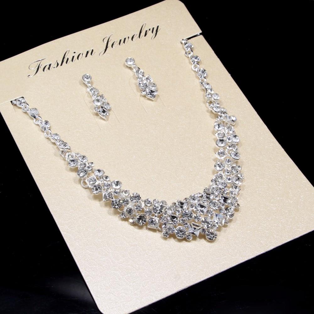 Nupcial Da Borboleta Flor Waterdrop Cor Prata Diamante de Cristal de Noiva 3 pcs Set Colar Brincos Conjunto De Jóias de Casamento Da Tiara Da Coroa (2)