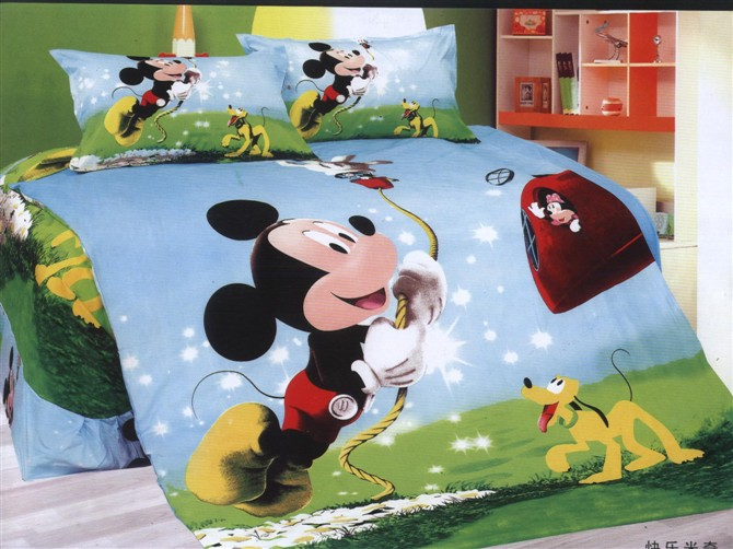 New mickey mouse comforter bedding set single twin size quilt duvet cover sheet cotton 400TC Childrens bedroom decor blue greenNew mickey mouse comforter bedding set single twin size quilt duvet cover sheet cotton 400TC Childrens bedroom decor blue green