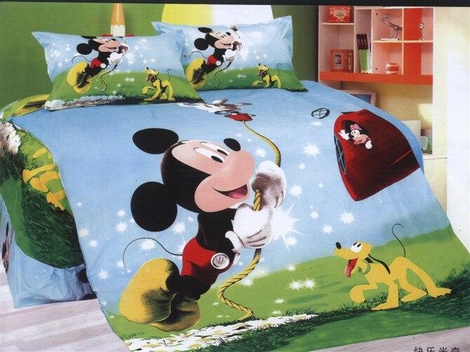ᗑNueva Mickey Mouse juego de cama edredón solo tamaño doble hoja