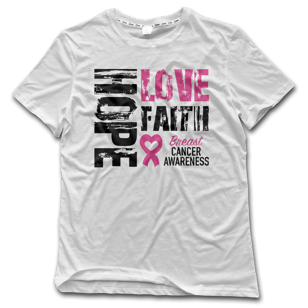 US $25 0 |CHI t shirt Man Hope Faith Love Breast Cancer Awareness 100%  Cotton Rock kpop Men shirt High Quality New Style clothing 2017-in T-Shirts
