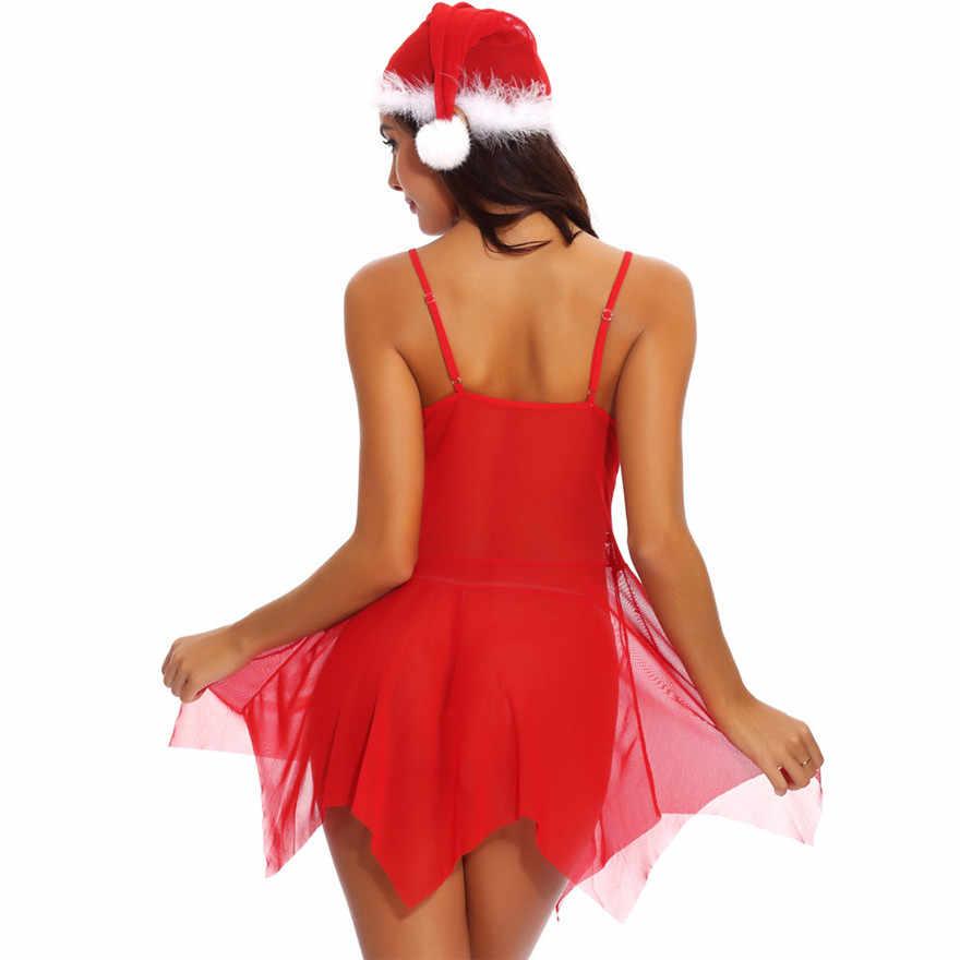 クリスマスセクシーなレースの女性 Lrregular 裾毛深いメッシュランジェリー G ストリング下着ドレス帽子セット