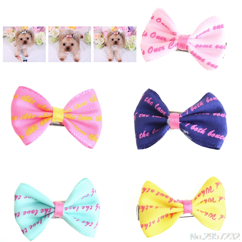 5Pcs Beauty Pet Grooming Accessories Colorful Cat Dog Hair Bows Hair Clips YY56