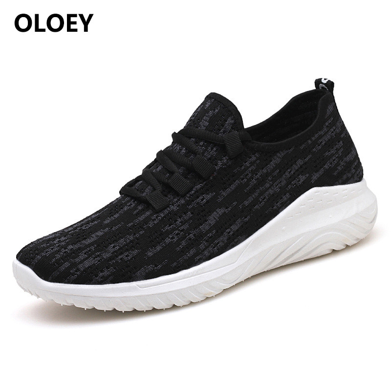 2018 New Summer Men Casual Shoes Super Light Breathable Full Mesh Footwear Men Black Walking Shoes led shoes men human race