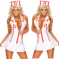 Elastic Sexy Nurse Costume Doctor Costumes Womens Costumes Deep-V Role Play Hollow Out Lingerie Hot Sexy Nurse Costume Doctor
