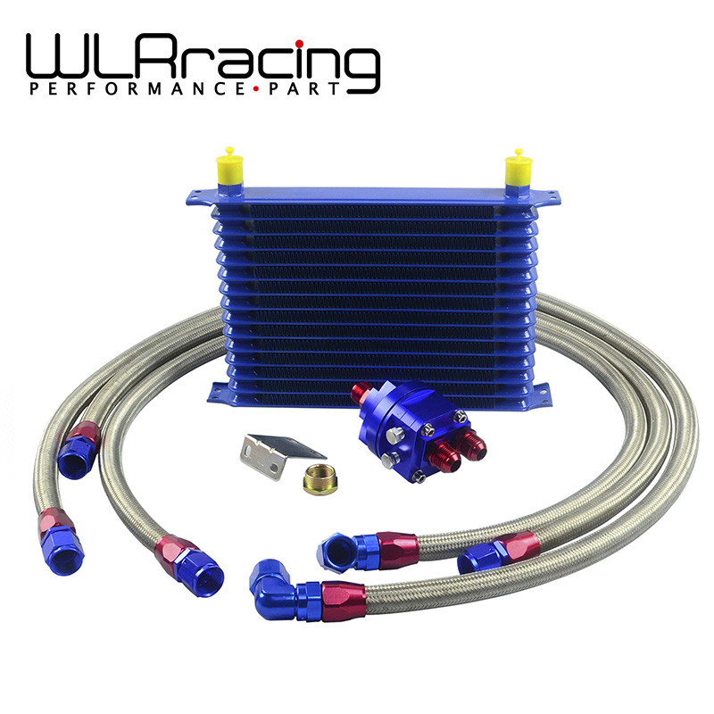 WLR RACING - Universal Oil Cooler Kit 15 Row 10AN Aluminium Engine Transmission Oil Cooler Relocation Kit wlring store universal 16 row an10 engine transmiss oil cooler kit filter relocation blue