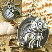 Free shipping cat necklace watch,Women's men's necklace watch 100pcs/lot wholesale,Gift Watch Fast Delivery