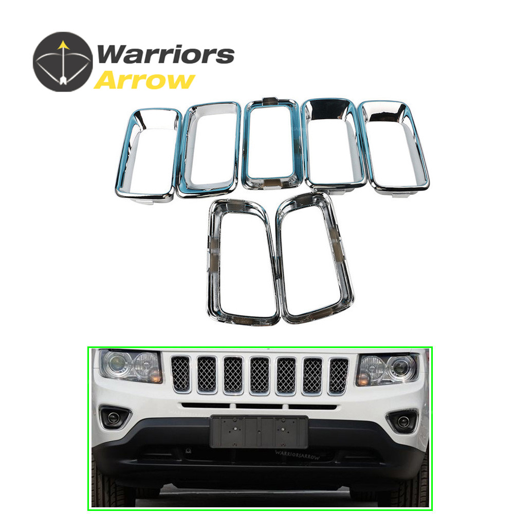 68109865AA For Jeep Compass 2011 2012 2013 2014 2015 2016 2017 7x Chrome Grille Trim Molding