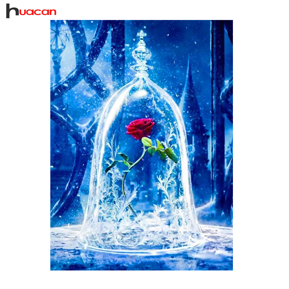 Huacan,Full Square Diamond Embroidery Red RoseFlower,Diamond painting Cross Stitch Rhinestone Mosaic Home Decoration Gift DIYHuacan,Full Square Diamond Embroidery Red RoseFlower,Diamond painting Cross Stitch Rhinestone Mosaic Home Decoration Gift DIY