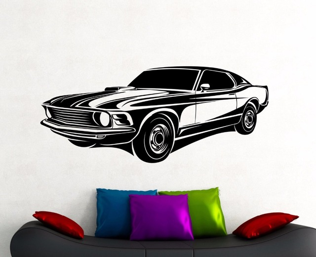 Muscle Car Decals >> Removable Waterproof Vinyl Wall Stickers Muscle Car Sticker Classic