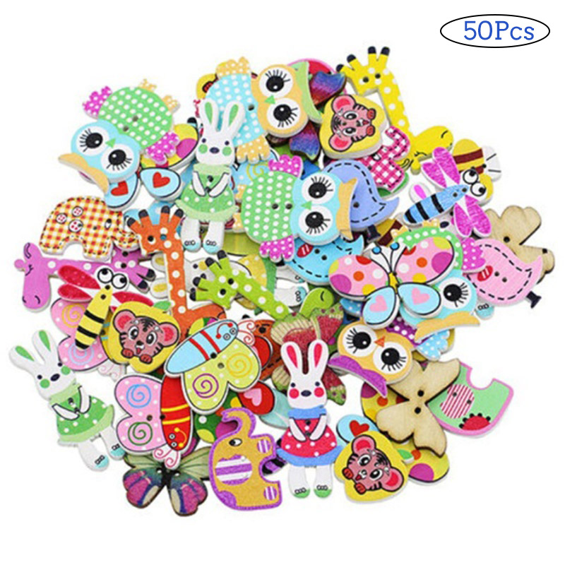 50pcs Lovely Multifunctional DIY Popular Scrapbooking Buttons Cute Cartoon Sewing Animal Craft  AU16 For Drop Shipping