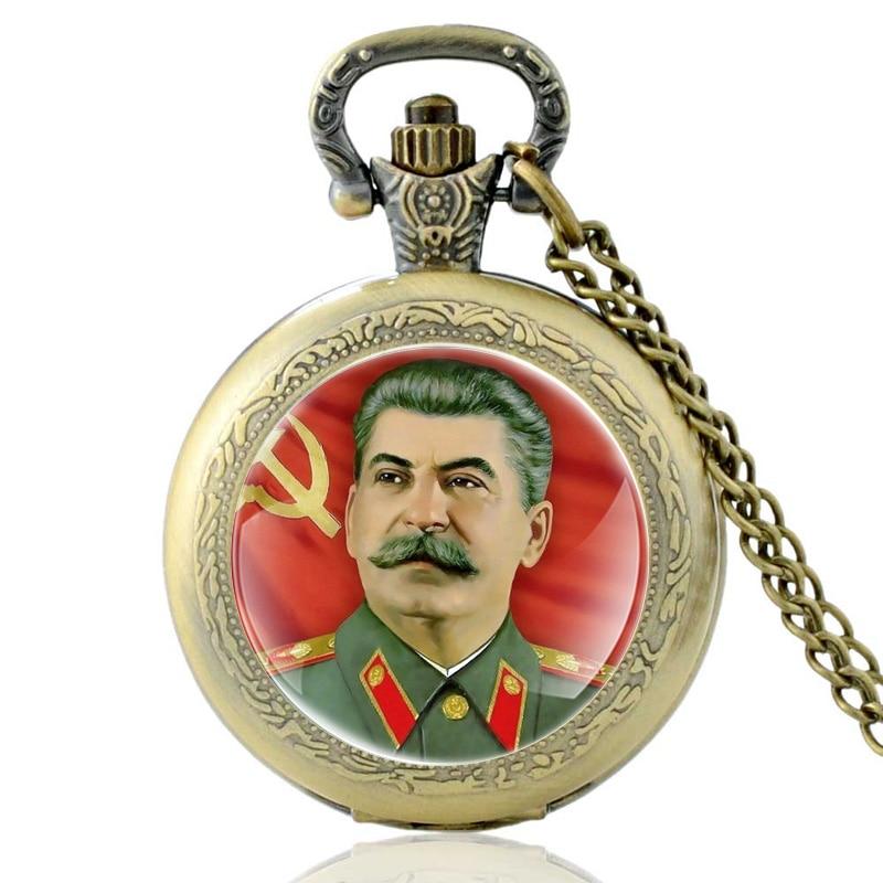 Antique Soviet Hero Stalin Quartz Pocket Watch Vintage Men Women Bronze Pendant Necklace Gifts