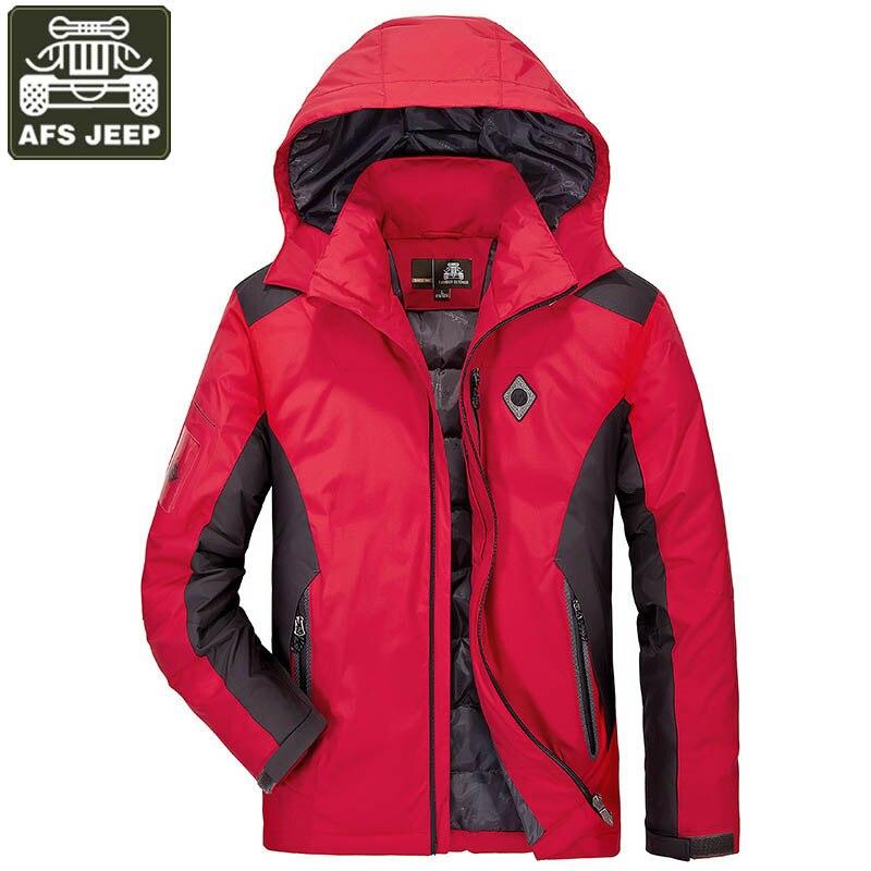 AFS JEEP hiver veste hommes Parka 90% blanc canard veste hommes coupe-vent manteau mâle Chaqueta Hombre veste hommes grande taille M-4XL