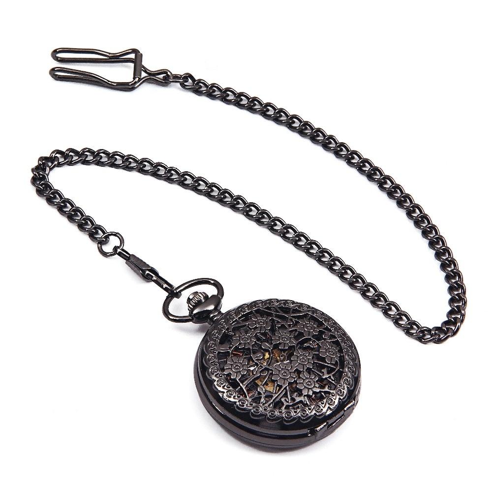 20PCS A LOT Black Steampunk Skeleton Flower Case Roman Number Dial Hand Winding Mechanical Mens Pocket Watch Reloj De Bolsillo