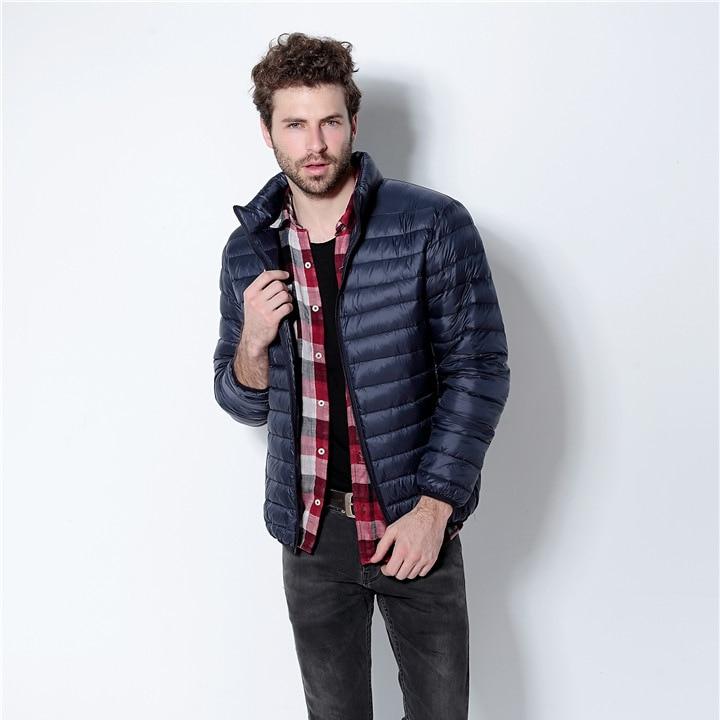 Плюс Размеры зимняя куртка Для мужчин новинка 2017 года пары тонких Пальто для будущих мам 90% утка Подпушка ультра-легкий тонкий стенд воротник хлопок- мягкий Твердый Мужские парки