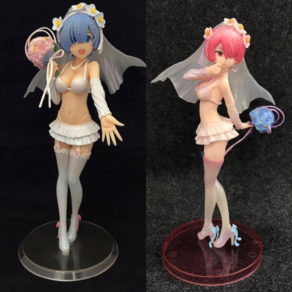 New Fashion Anime Re:life In A Different World From Zero Ram Wedding Dress Ver Sexy Pvc Action Figure Collectible Model Toys Doll 24cm Toys & Hobbies