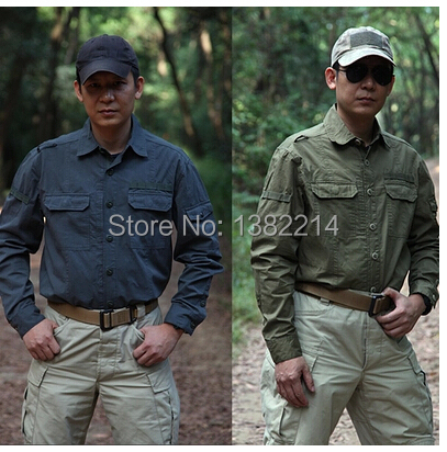 ФОТО Free shipping 100% cotton Shirts breathable outdoor  Camping Shirts men's long-sleeved multi-pocket tactical shirt