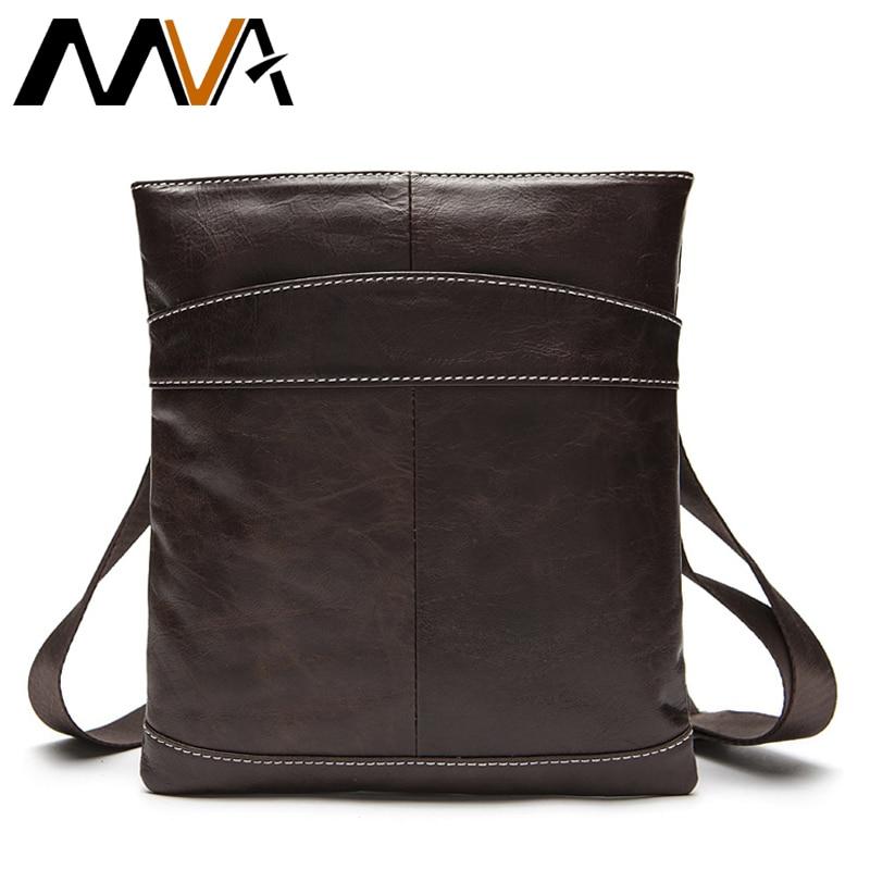 MVA Male Bag Genuine Leather Messenger Bag Men Leather Shoulder Bags male Small Casual Crossbody Bags for Man mini ipad Flap 703 цена 2017
