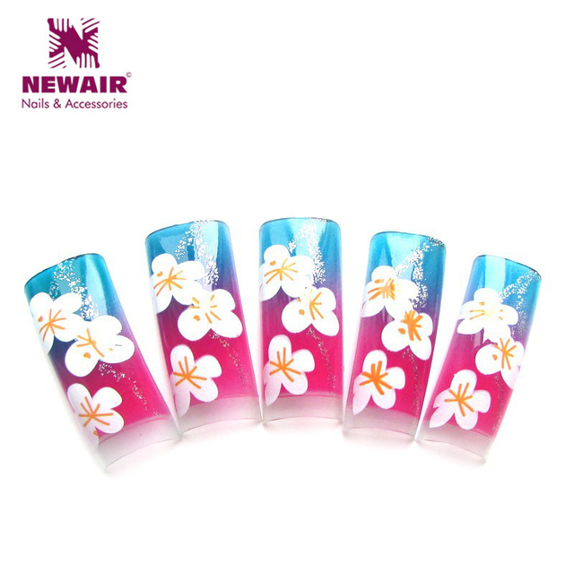 New Fall Series Colordul Flowers Pattern French Airbrush Nail Art ...