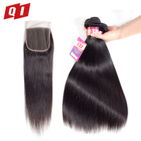 QI Hair 100 Malaysian Non Remy Human Hair 3 Bundles With 4 4 Lace Closure Straight