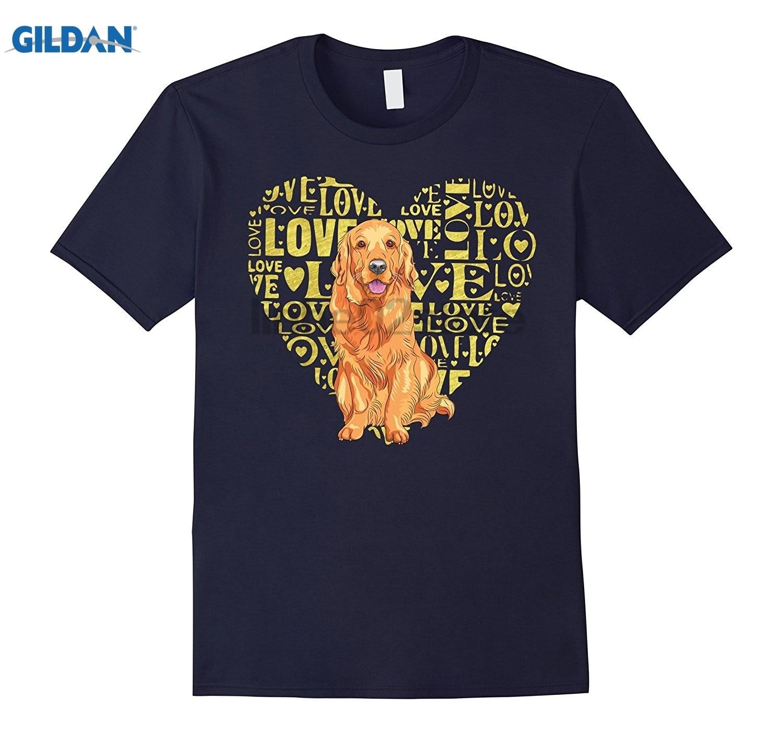 GILDAN Love Golden Retriever Dog T-Shirt Hot Womens T-shirt
