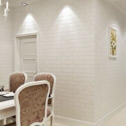 الحديثة 3D الطوب أوف وايت رغوة سميكة تنقش الفينيل جدار تغطي الجدار ورقة لفة خلفية جدار غرفة المعيشة خلفيات