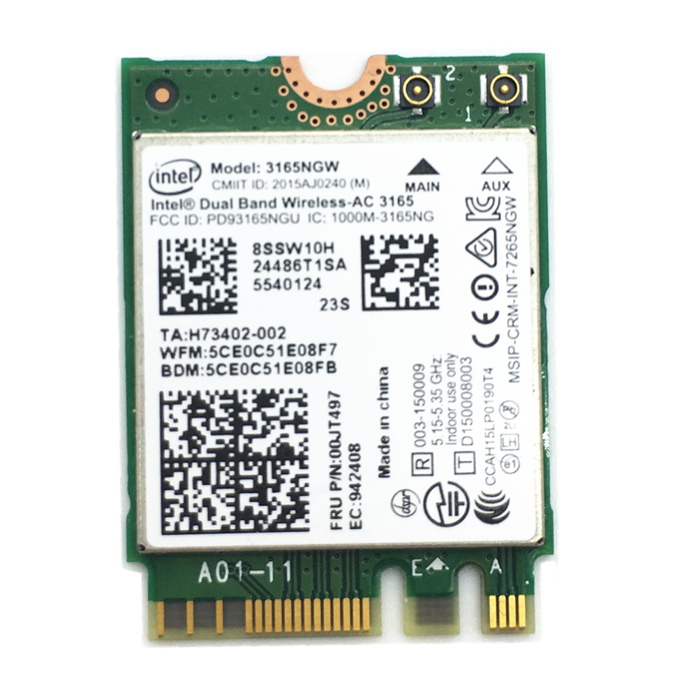 For Lenovo Intel Dual band Wireless-AC 3165 <font><b>3165NGW</b></font> 802.11AC Bluetooth 4.0 433Mbps NGFF M.2 Wireless Card image