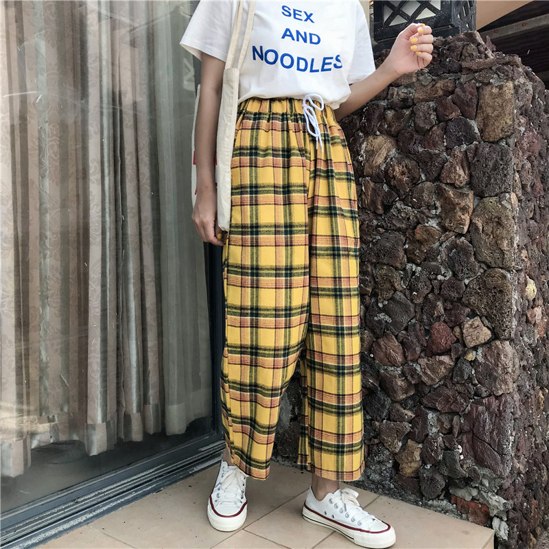 Spring New Wide Leg Pants Women Yellow Plaid Pants Elastic High Waist Drawstring Ankle-Length Pants Female Vintage Straight Pant