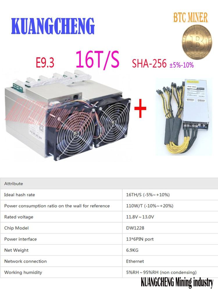 BTC minatore Ebit E9.3 16TH/s BTC Bitcoin macchina Mineraria Asic Minatore 16 T con PSU alimentazione A antminer S7 S9 WhatsMiner M3X