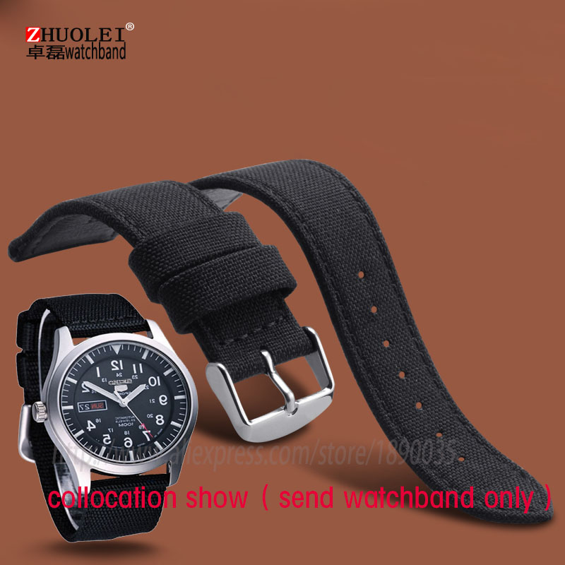 цены HOT Selling High quality black 18mm 20mm 22mm 24mm Canvas Genuine leather inner Watchband Two Parts Watch Strap nylon watchband