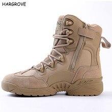 Esdy Musim Dingin pria Gurun Kamuflase Kulit Asli Army Combat Boots Pria Tinggi Militer Taktis Hiking Boots Coturnos Masculino