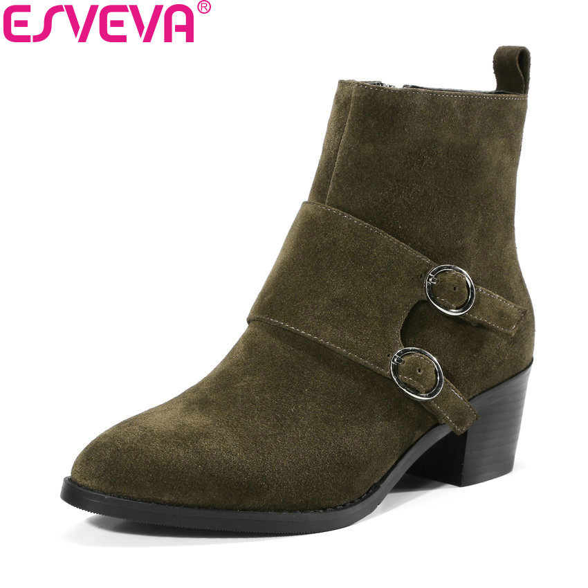 ESVEVA 2018 Women Boots Cow Leather+suede Out Door Buckle Square High Heels Ankle Boots Pointed Toe Warm Fur Boots Size 34-39 esveva 2018 women boots square heels pu leather short plush out door high heels ankle boots round toe ladies boots size 34 43