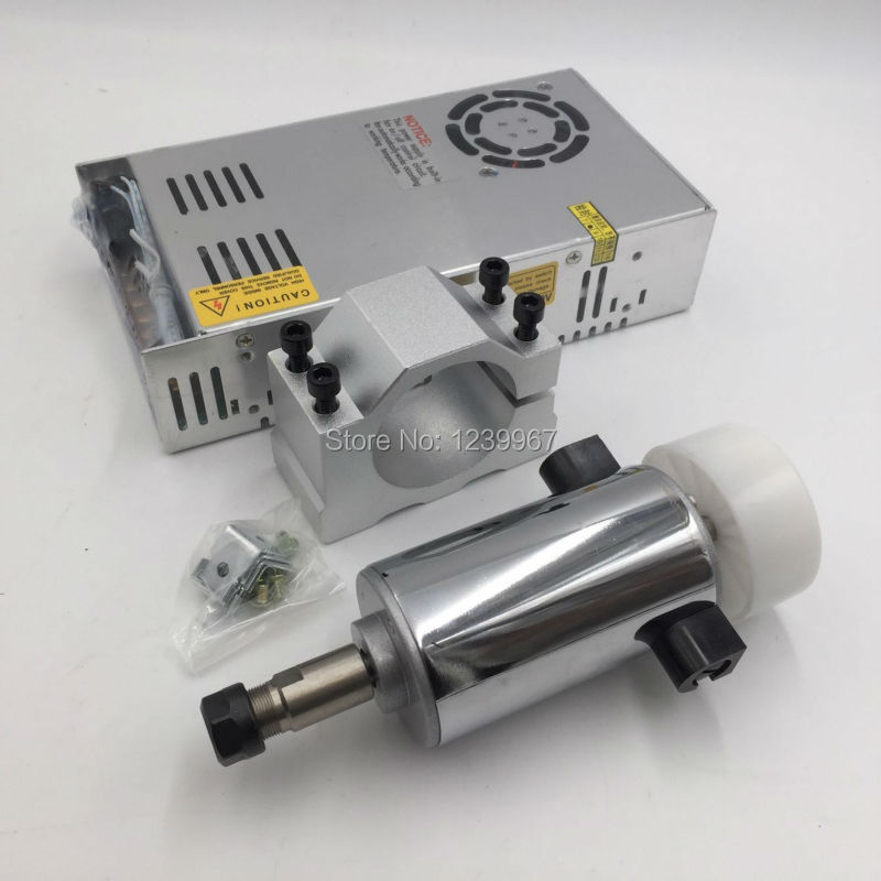 300w Spindle Motor Kit 0.3kw DC Brushed Spindle Motor 12000rpm+Speed Adjustable Power Supply + Mount Bracket CNC kit new products with new export spindle power 900 w dc motor spindle motor 220 v 2600 rpm speed
