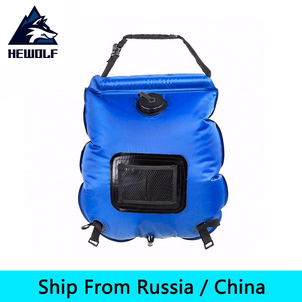 (Ship From Russia / China) Hewolf 20L Outdoor Solar Field Bathing Portable Water Bag Blue Compound Lattice Cloth PVC Waterproof