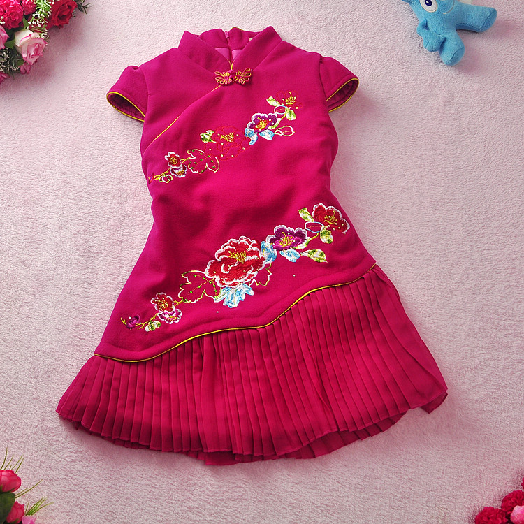 ФОТО 2016 autumn and winter paragraph  girls New Year dress baby woolen cheongsam pleated children's costumes