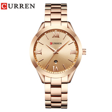 цена на CURREN Watch Women Full Steel Rose Gold Ladies Dress Wristwatch Bracelet Fashion Women's Quartz Watches Clock bayan kol saati #a