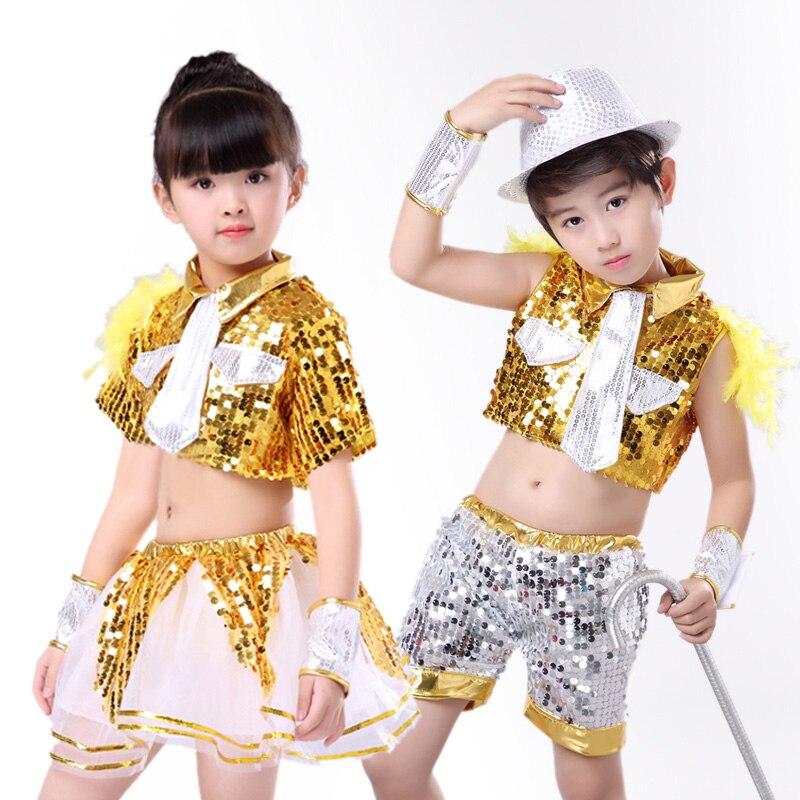 Kids Boys Girls Sequins Jazz Dance Show Vest Waistcoat Hip-Hop Costumes Beauty