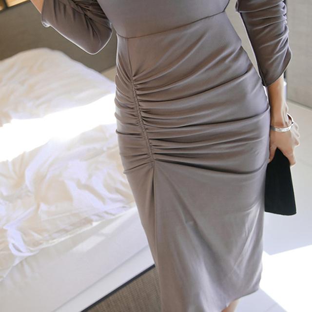 Elegant O-neck Full Sleeve Slim Women Dress Chic Pleated Female Midi Female Vestidos Work Business Dress