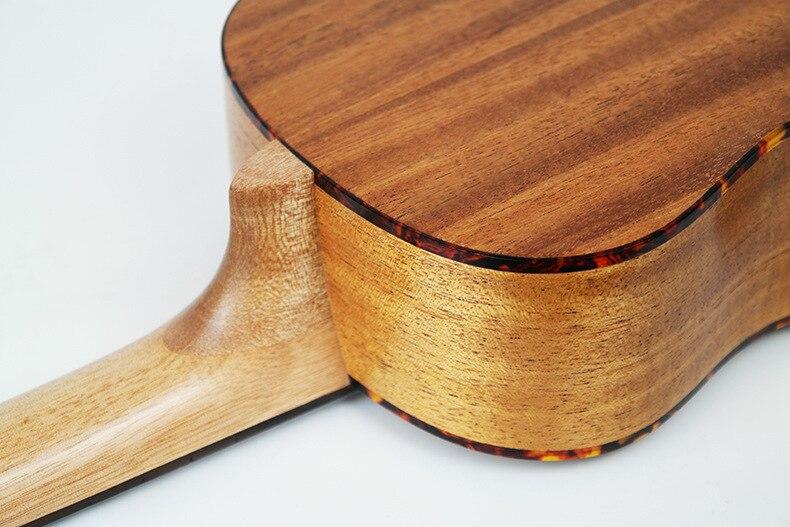 Guitare acoustique SevenAngel 23 pouces ukulélé épicéa acajou 4 cordes ukelele électrique avec micro EQ reliure celluloïd rouge - 6