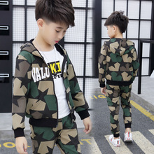 3-14T Boys Long Sleeve Camouflage Clothing Set For Spring & Autumn 2018 New Children's Clothing Fashion Sweatshirt Sport Suits