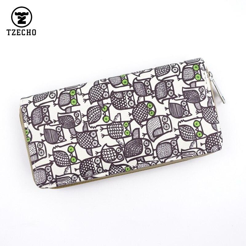 TZECHO Zipper Around Womens Wallets Clip Leather Print Owl Long Organizer Femal Purses Clutch Bag Coin Pocket Credit Card Holder